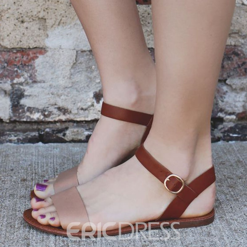 Ericdress Open Toe Ankle Strap Flat Sandals