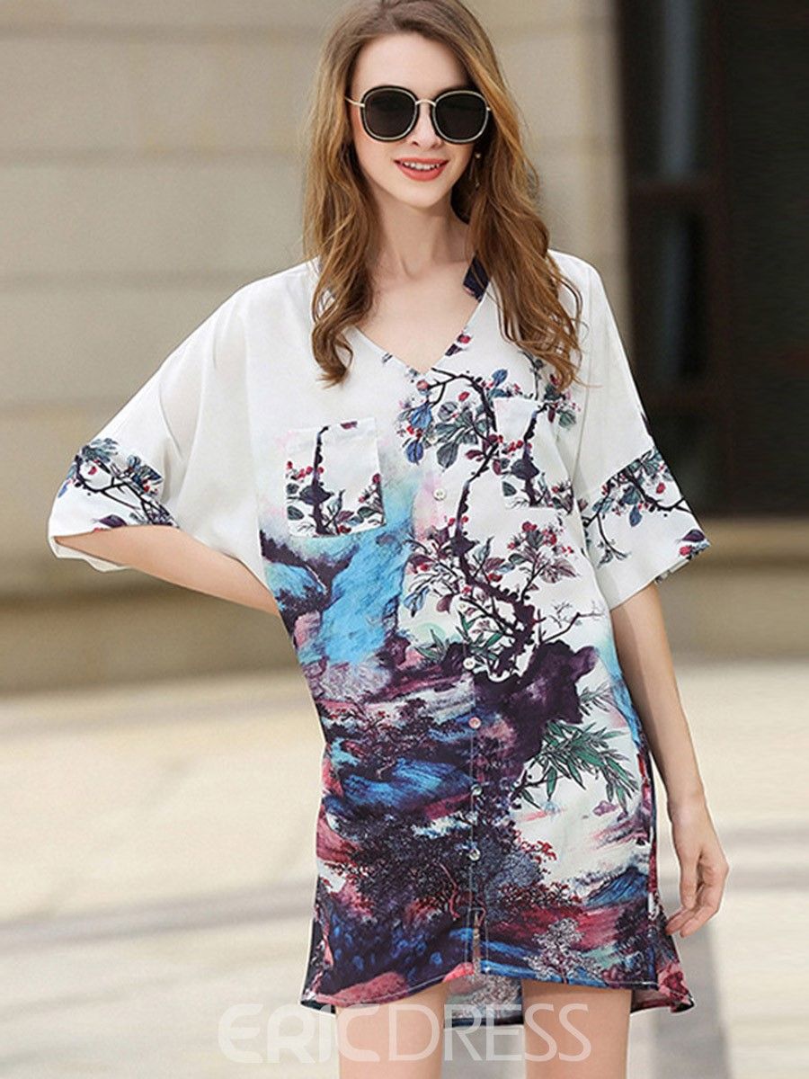 Ericdress Delicate Print V-Neck Single-Breasted Casual Dress