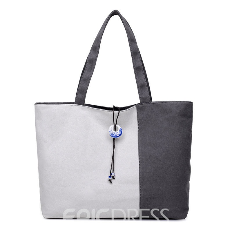 Ericdress Contrast Color Splicing Tote Bag