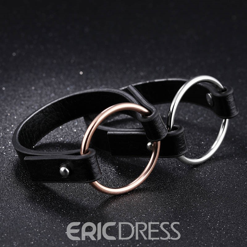 Ericdress High-End Stainless Steel Leather Bracelet for Women