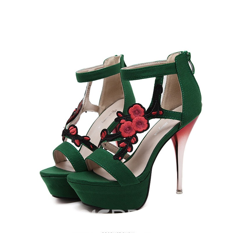 Ericdress Bright OL Embroidery Stiletto Sandals