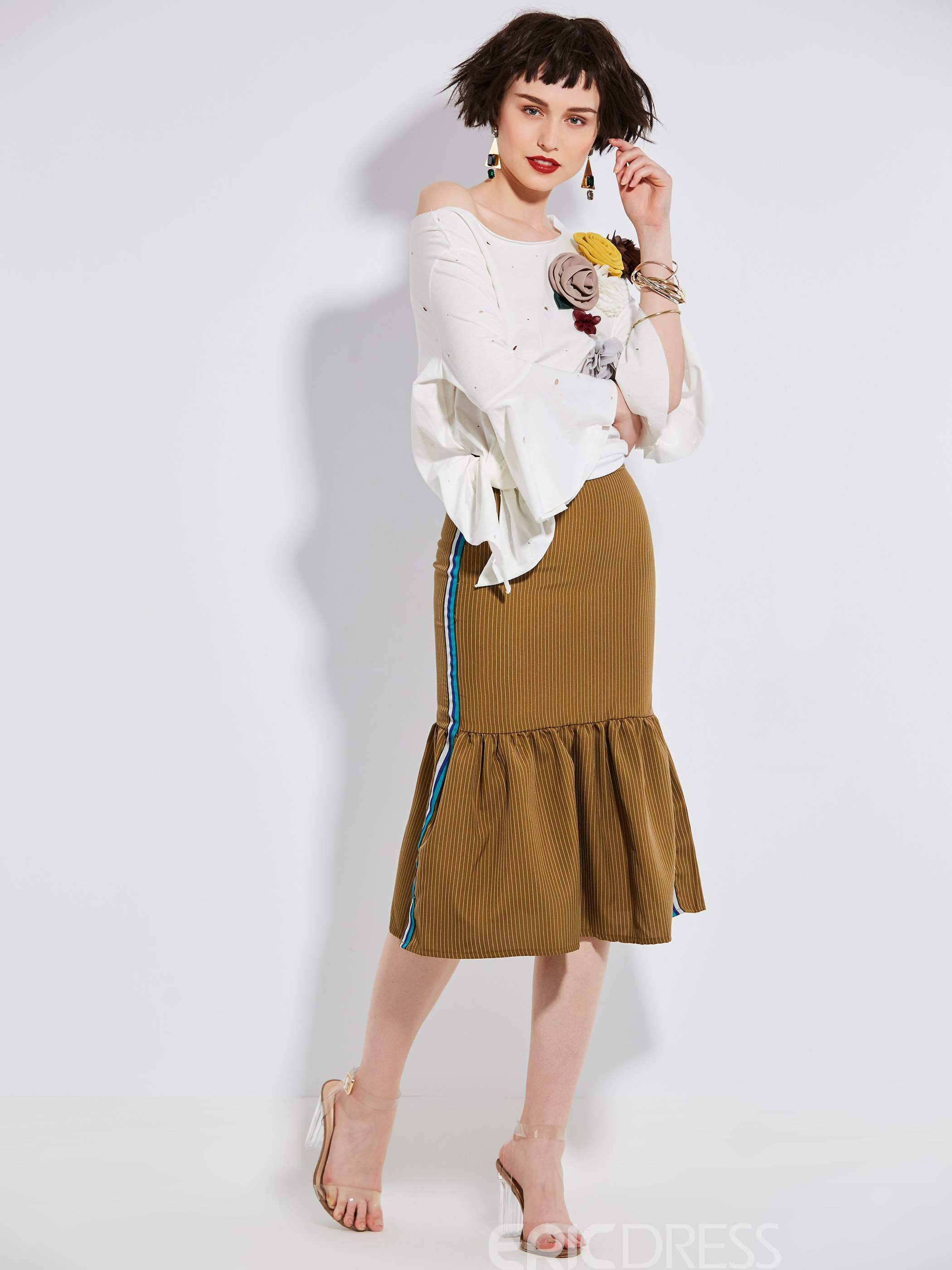 Mid-Waist Stripe Patchwork Falbala Women's Skirt