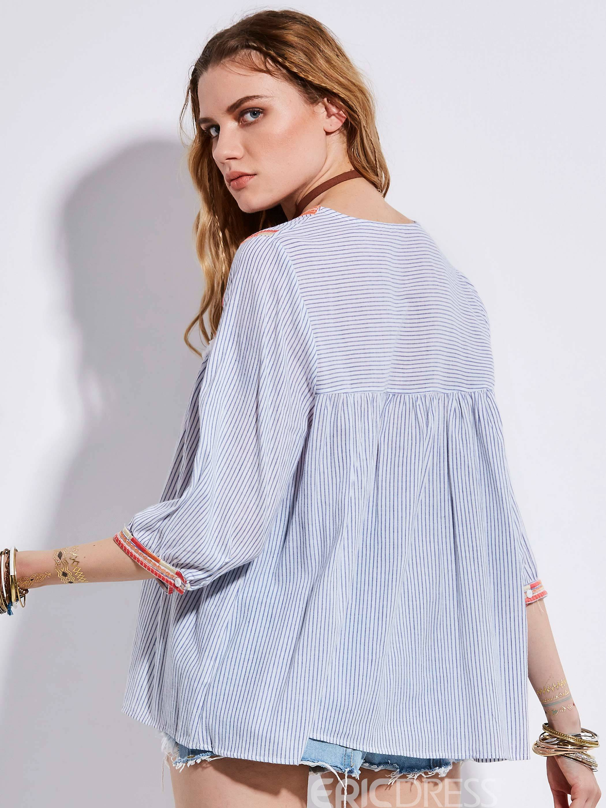Ericdress Bohoartist Tassel Patchwork Stripe Blouse