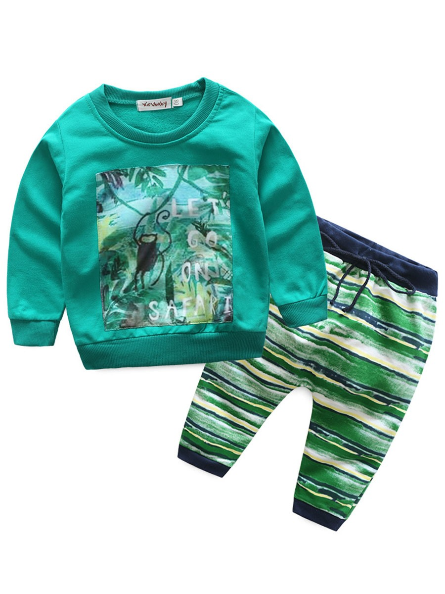 Ericdress Forest Adventure Pattern Long Sleeve And Stripe Pant Baby Boys Outfit