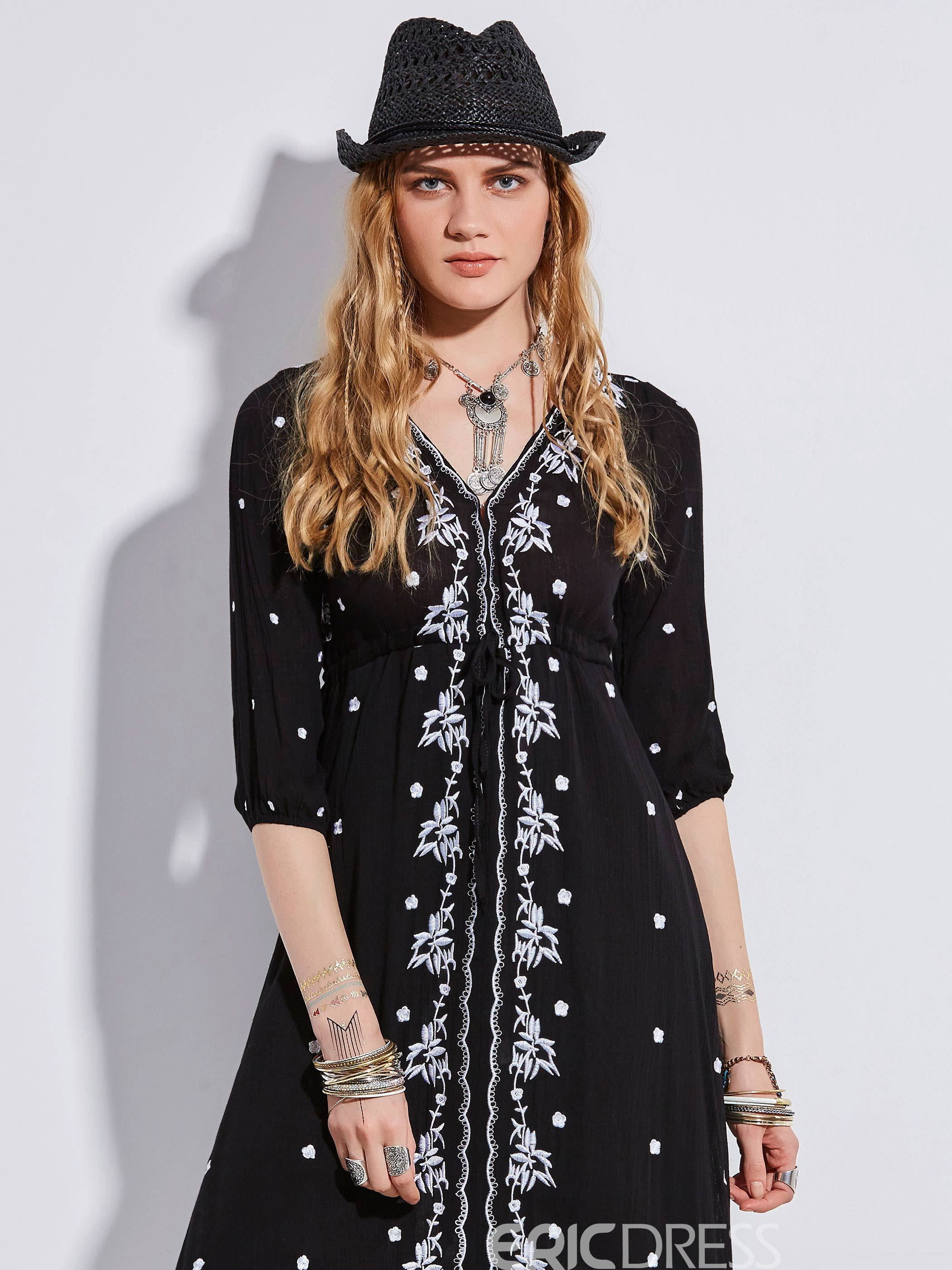 Ericdress V-Neck Floral Embroideried Casual Dress