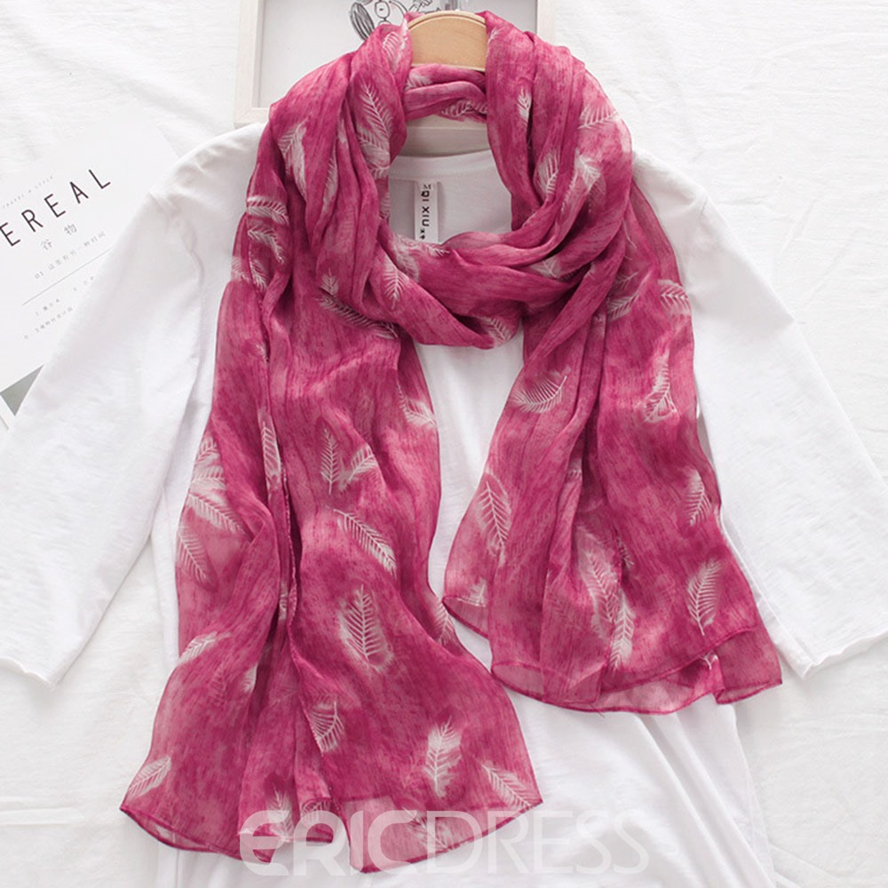 Ericdress Cozy Feather Printed Long Scarf for Women