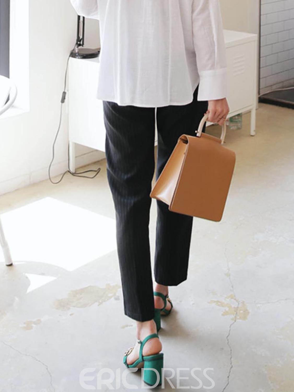 Ericdress Slim Pocket Stripe Ankle Length Straight Casual Pants