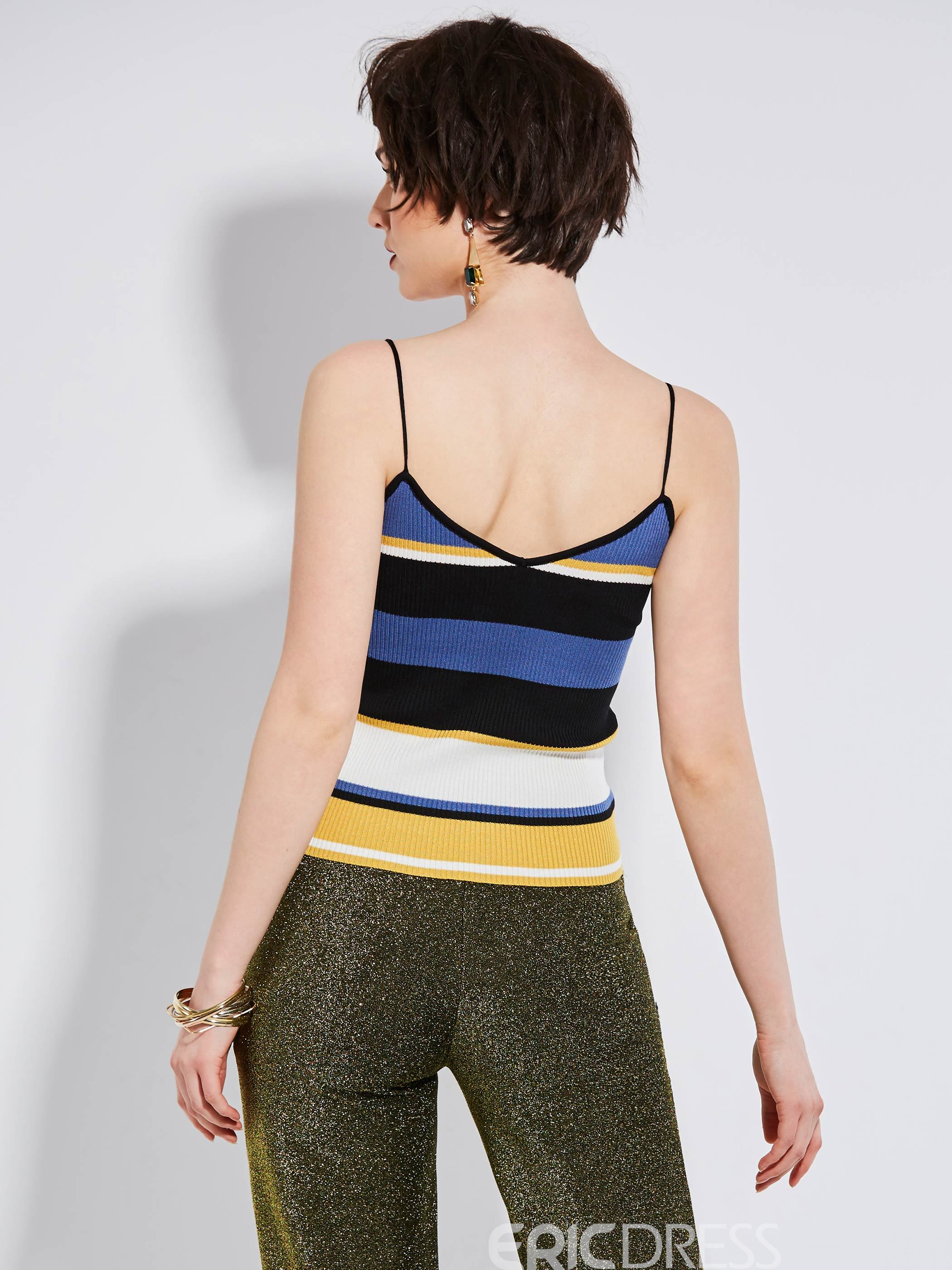 Ericdress Color Block Stripe Tank Top