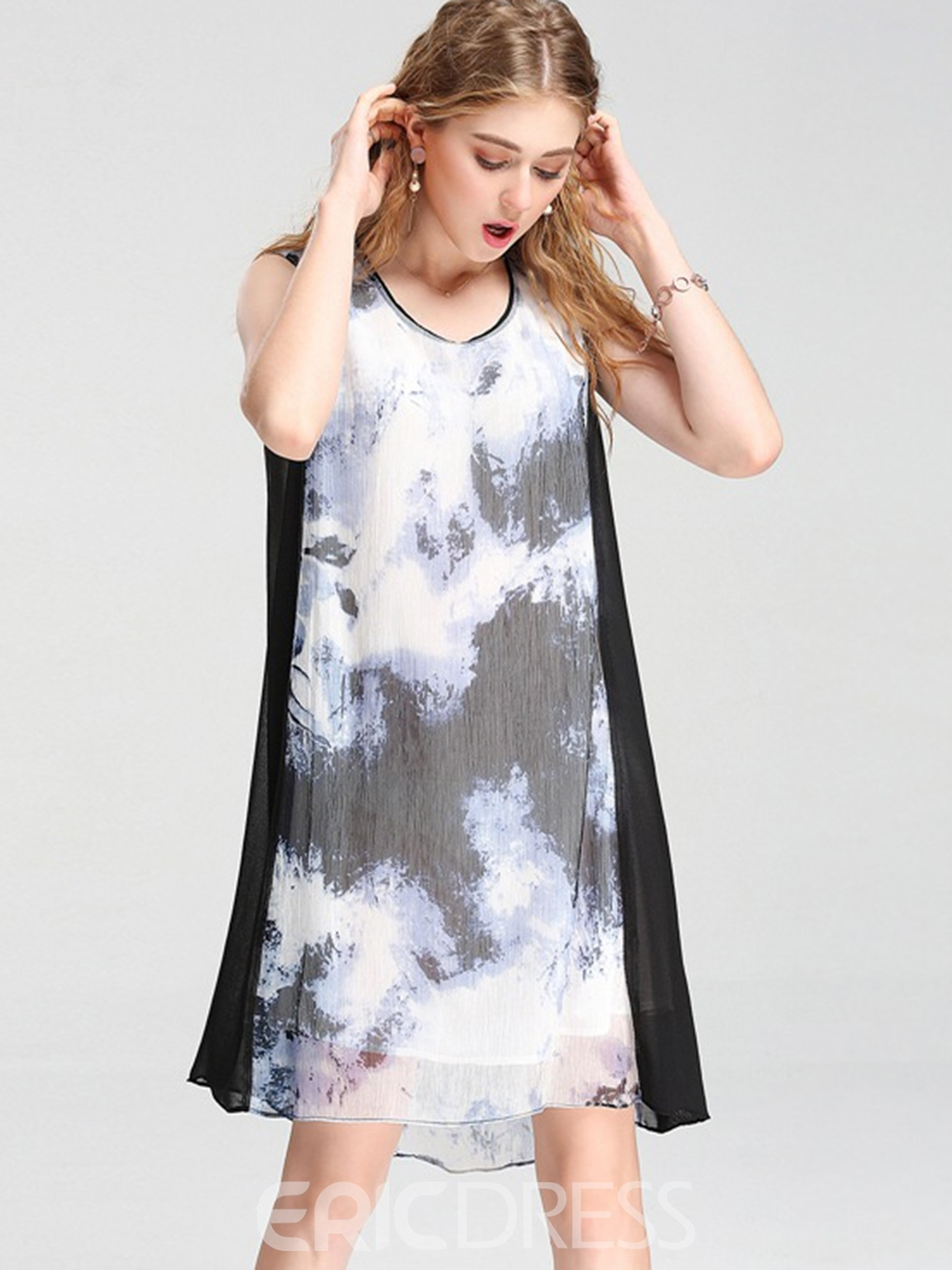 Ericdress Vintage Ink Art Print Color Block Asymmetry Casual Dress