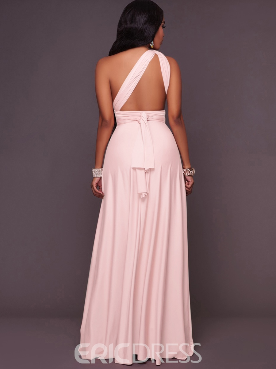 Ericdress Elegant Plain Pleated-Detail Backless Maxi Dress