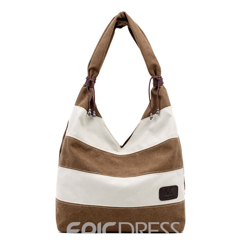 Ericdress Simple Color Block Canvas Tote Bag