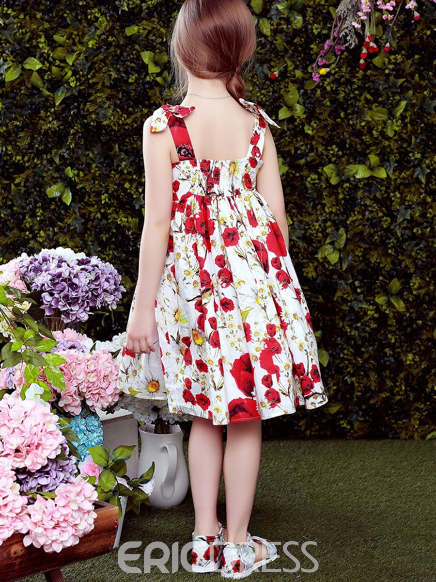 Ericdress Floral Spaghetti Strap Girls Day Dress