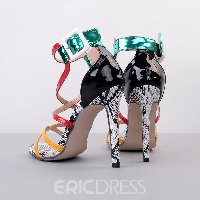 Ericdress Colorful Patchwork Cross Strap Stiletto Sandals