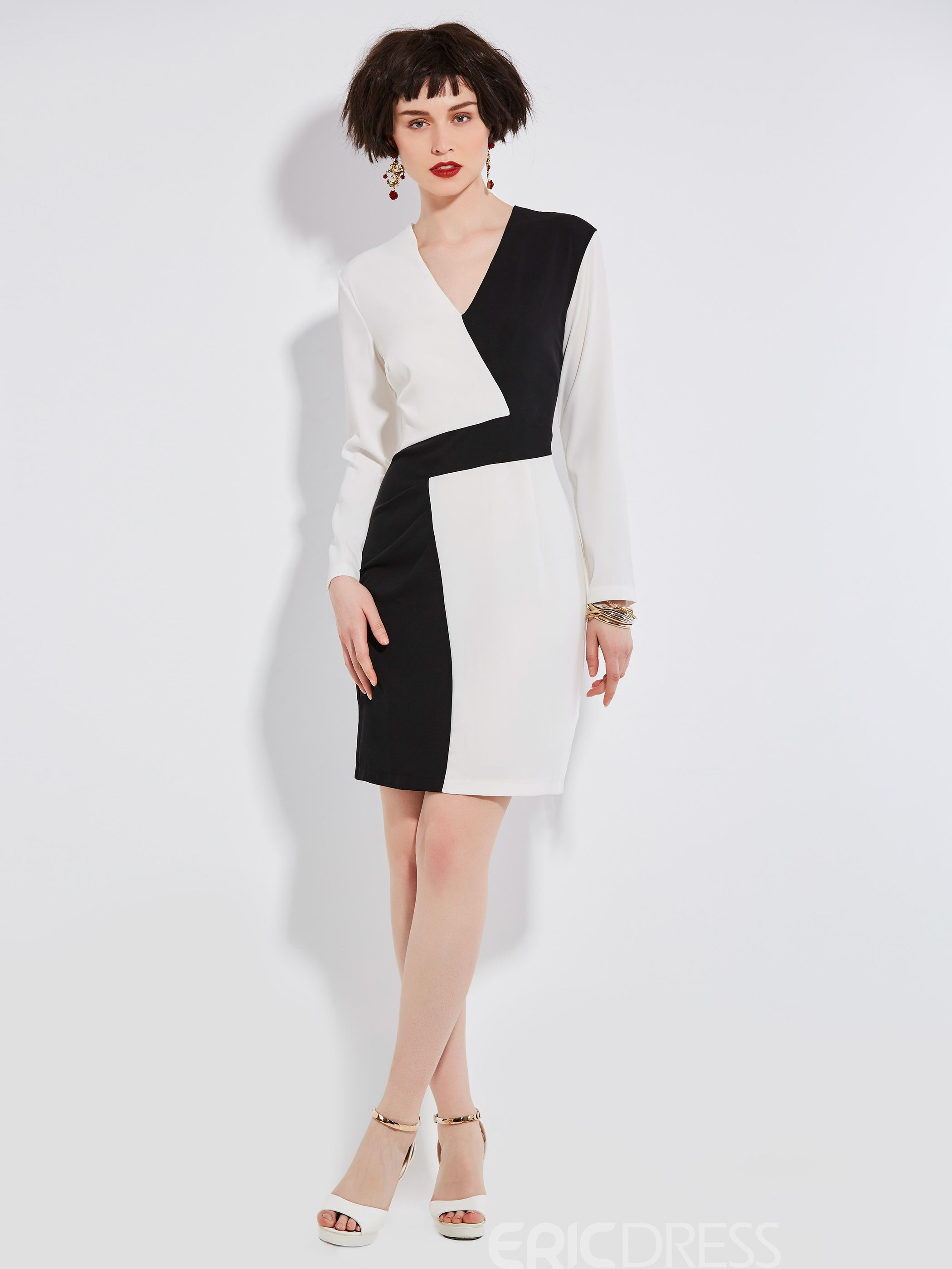 Ericdress Color Block Patchwork V-Neck Zipper Bodycon Dress