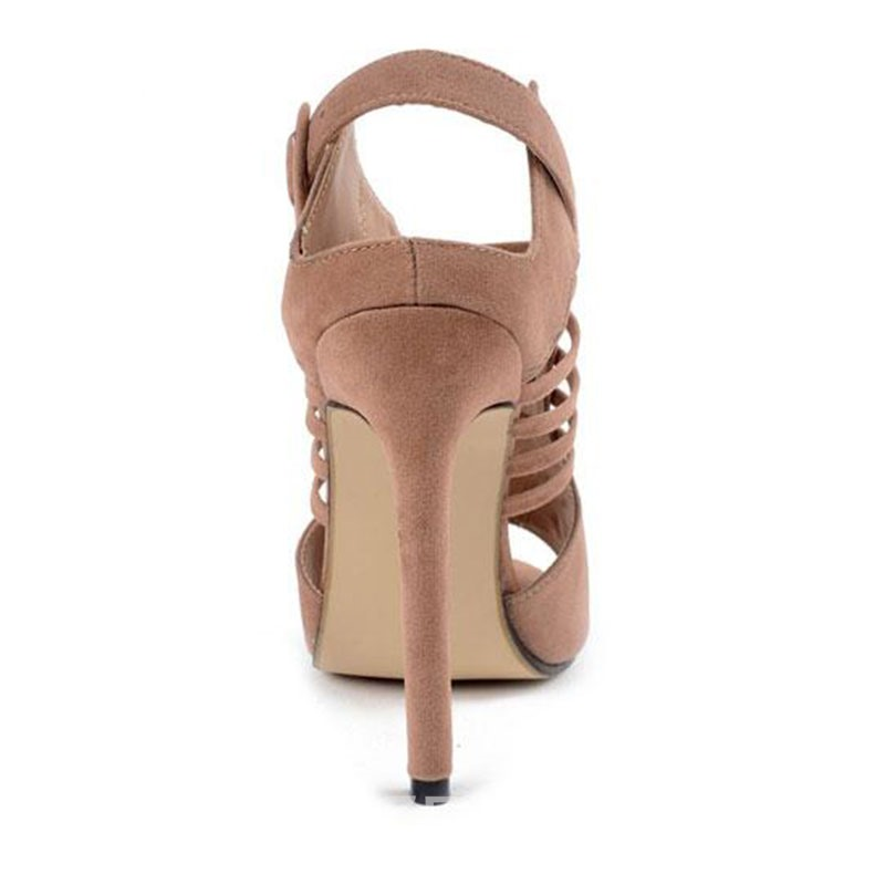 Ericdress Roman Suede Cut Out Stiletto Sandals