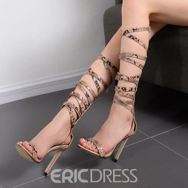 Ericdress Roman Snake Print Cross Strappy Stiletto Sandals