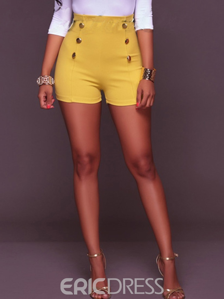 Ericdress High Waisted Pure Color Tight Women's Shorts