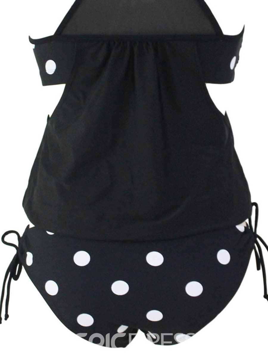 Ericdress Vest Polka Dots Lace-Up Tankini Set