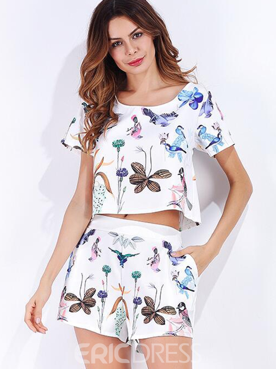 Ericdress Scoop Pullover Print Two Piece Set