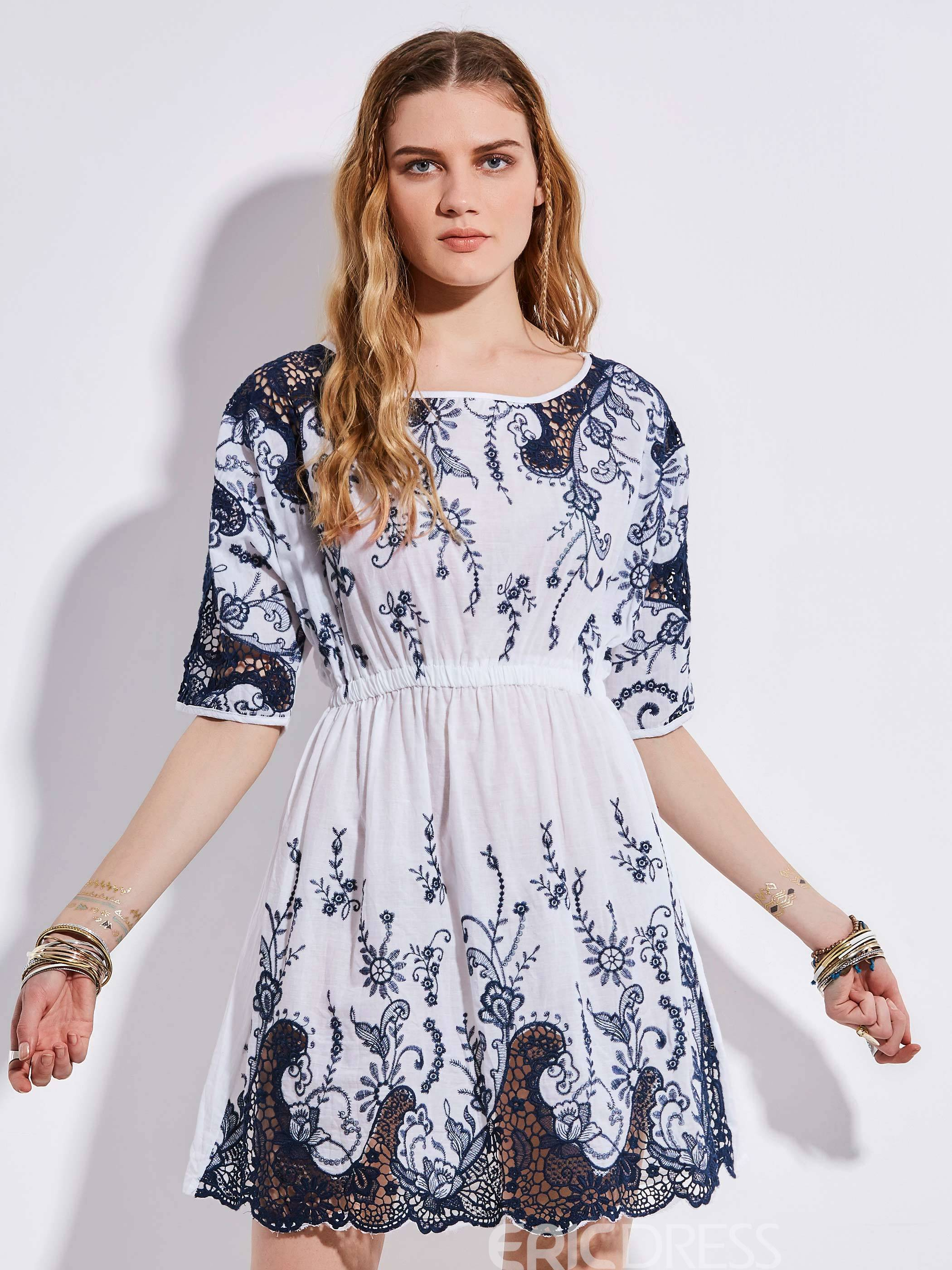 Ericdress Bohoartist Round Neck Embroideried A-Line Dress