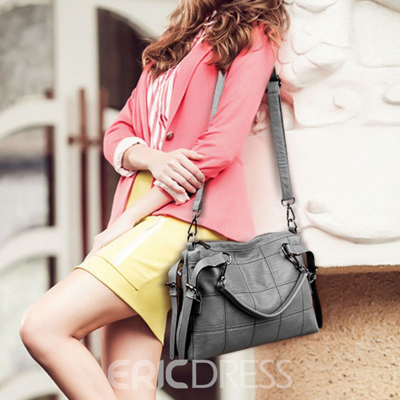 Ericdress Solid Color PU Leather Handbag