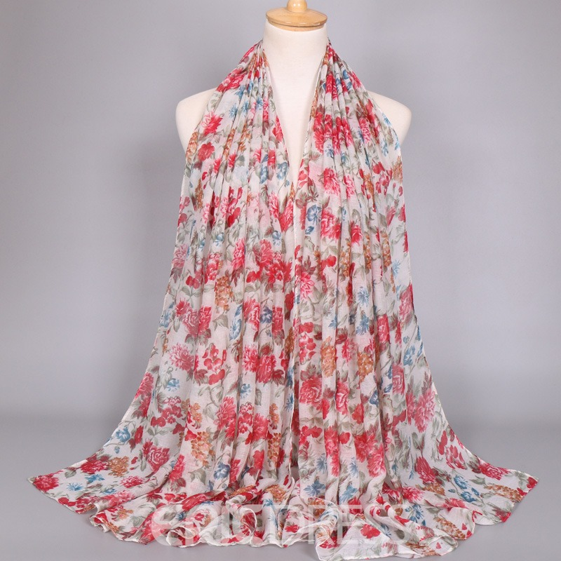 Ericdress Floral Print Voile Women's Scarf