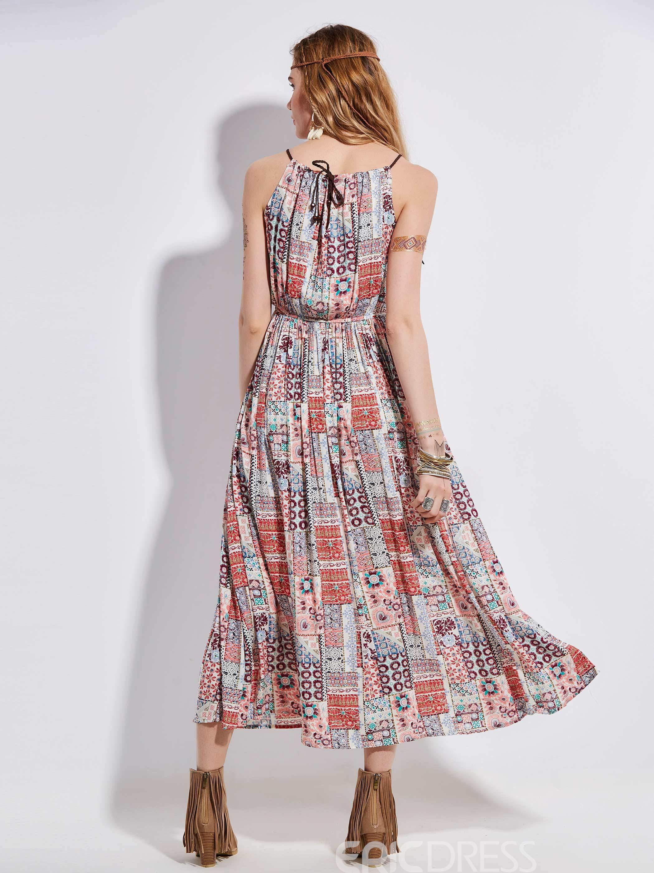 Ericdress Bohoartist Color Block Geometric Pattern Maxi Dress
