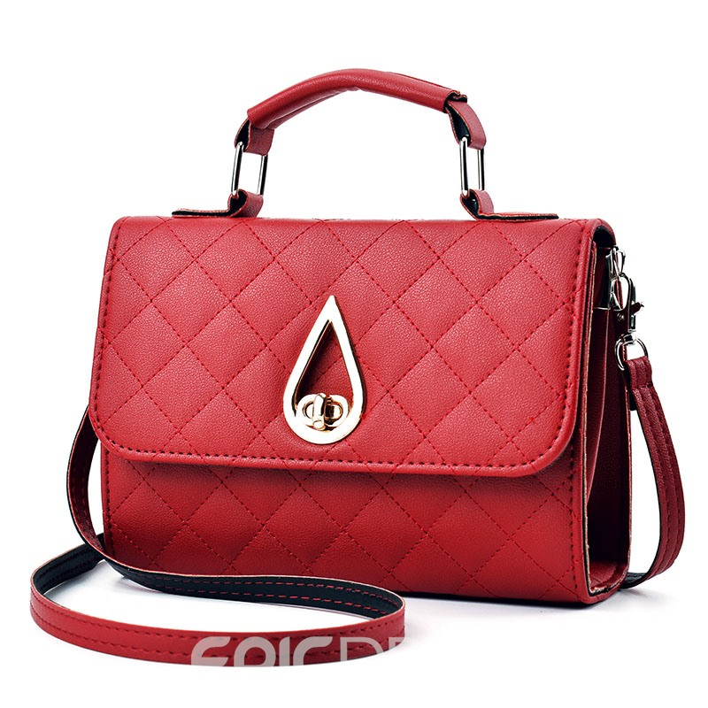 Ericdress Solid Color Ling Plaid Handbag