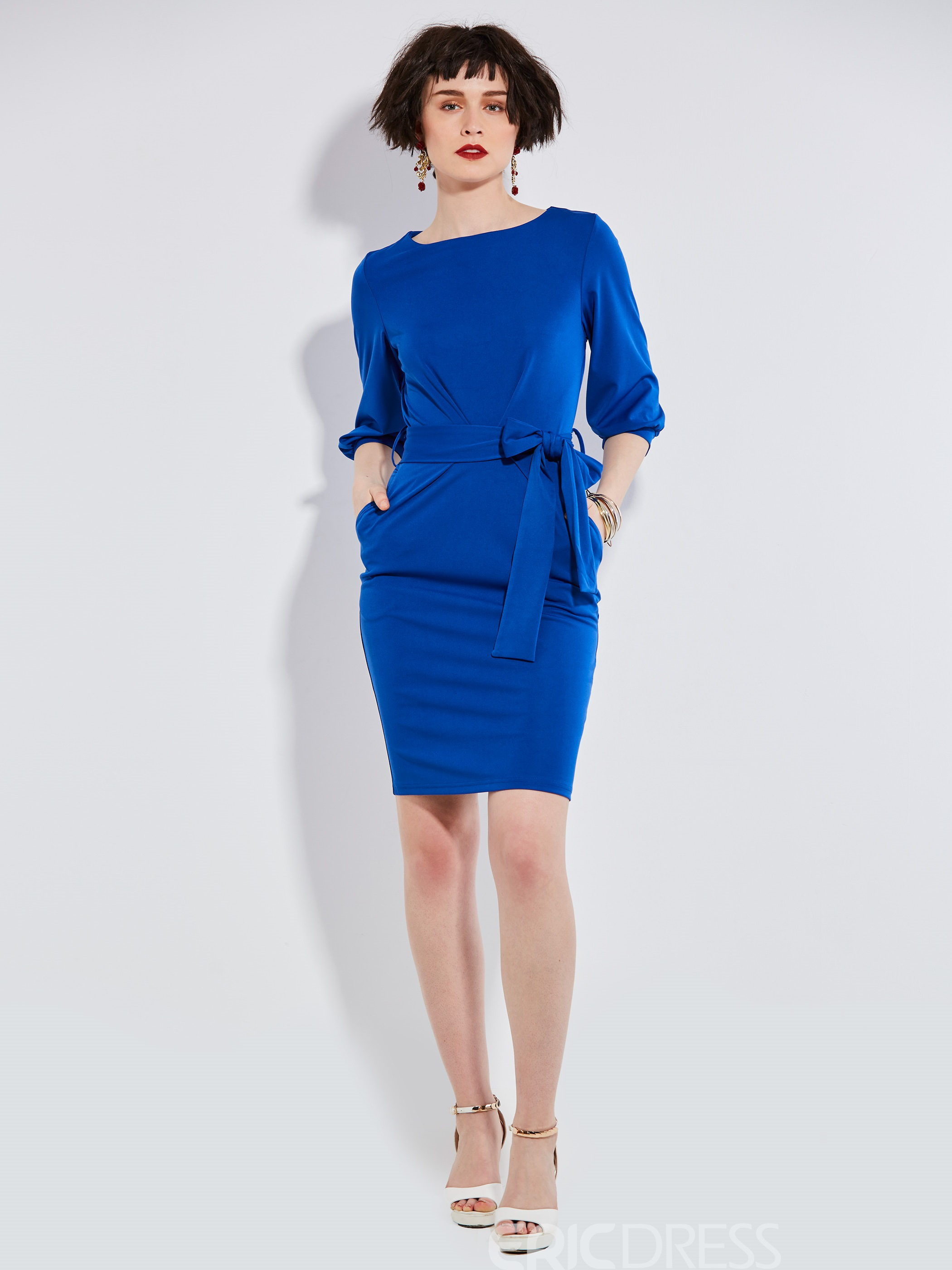 Ericdress Solid Color Patchwork Half Sleeve Bodycon Dress