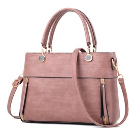Ericdress Solid Color Zipper-Decorated Women Handbag