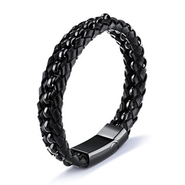Ericdress Personality Titanium Steel Black Leather Men's Bracelet