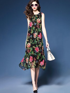Ericdress Round Neck Floral Print Sleeveless Casual Dress