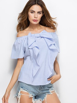 Ericdress Slash Neck Bowknot Stripe Blouse