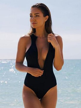 Ericdress Backless Zipper Deep V-Neck Monokini