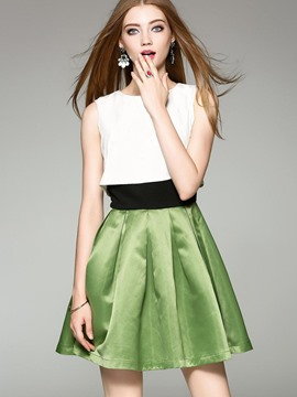 Ericdress Color Block Pleated Above Knee A Line Dress