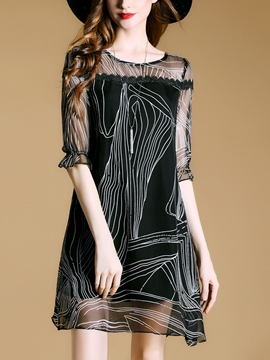 Ericdress Vertical Striped 3/4 Sleeve See-Through Casual Dress