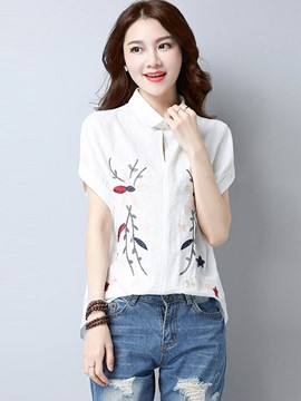 Ericdress Lapel Floral Embroidery T-shirt