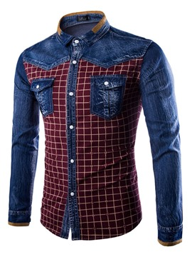 Ericdress Color Block Patched Denim Casual Men's Shirt