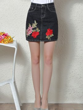 Ericdress Embroidery Denim Mini Skirt