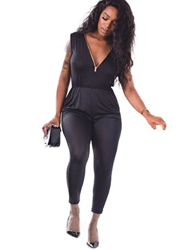 Ericdress Zipper Pencil Pants Jumpsuits