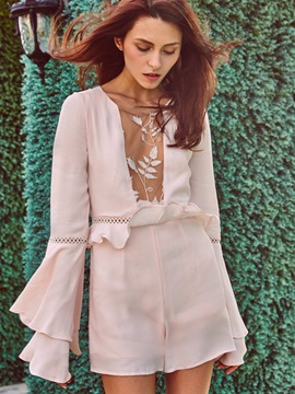 Ericdress Bell Sleeve Ruffles Hollow Lace Jumpsuits Pants