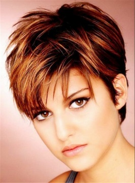 Ericdress Silky Layered Natural Brown Pixie Straight 100% Human Hair Lace front Women Wigs 6 Inches