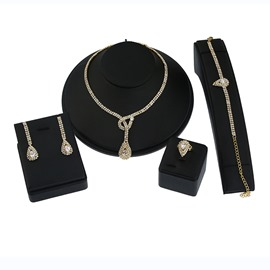 Ericdress Diamante Waterdrop Four-Piece Women's Jewelry Set