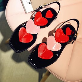 Ericdress Patent Leather Sweet Heart Flat Sandals