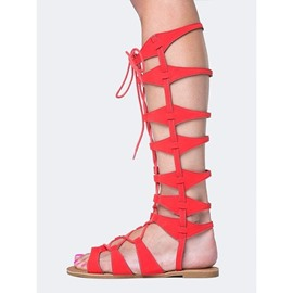 Ericdress Hollow Lace-Up Open Toe Flat Sandals