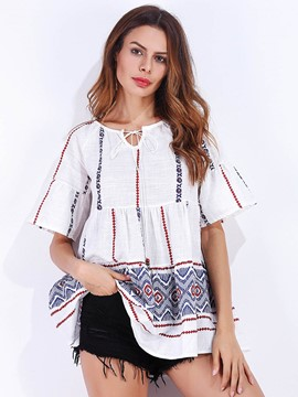 Ericdress Print Half Sleeve Pullover Lace-Up T-shirt