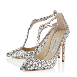 Ericdress Luxurious Rhinestone T Strap Wedding Shoes