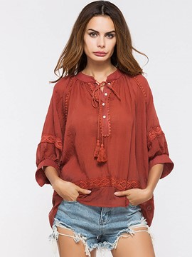 Ericdress Linen Tassel Lace-Up Three-Quarter Blouse