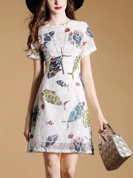 Ericdress Floral Print Embroidery A Line Dress