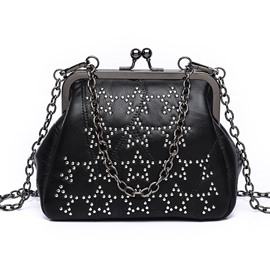 Ericdress Dot Rivets Adornment Chain Crossbody Bag